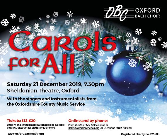 2019 Christmas Music.Carols For All Oxford Bach Choir